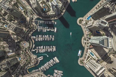 Aerial shot of city marina, Dubai, United Arab Emirates