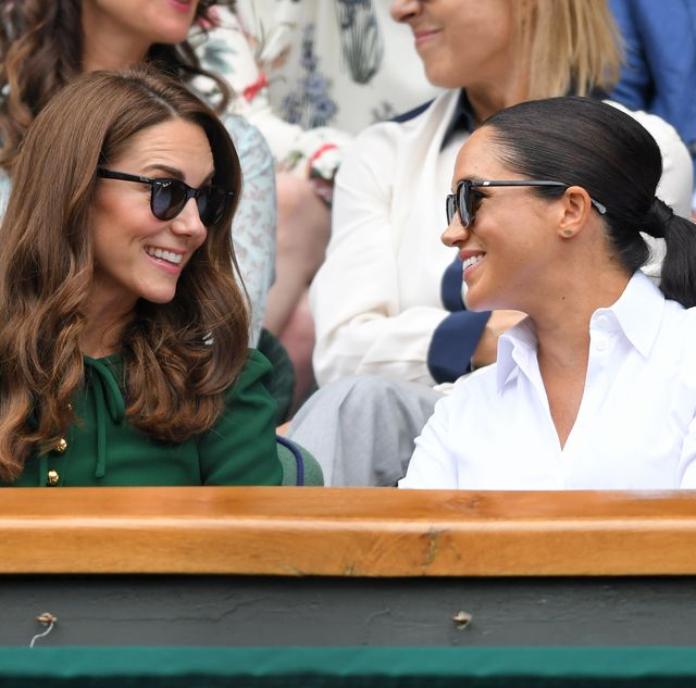 london, england   july 13 catherine, duchess of cambridge and meghan, duchess of sussex in the royal box on centre court during day twelve of the wimbledon tennis championships at all england lawn tennis and croquet club on july 13, 2019 in london, england photo by karwai tanggetty images