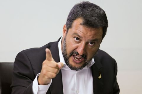 The Interior Minister, Matteo Salvini, during the press