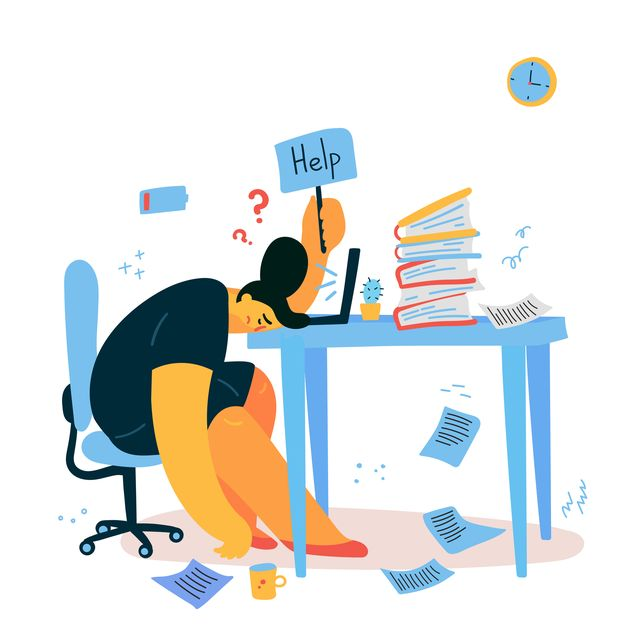 emotional burnout woman sitting at her working place with computer in office and holds the sign help,tired businesswoman with low battery,emotional burnout concepthard workvector illustration