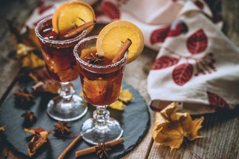 Autumn Mulled wine with juicy orange and spices