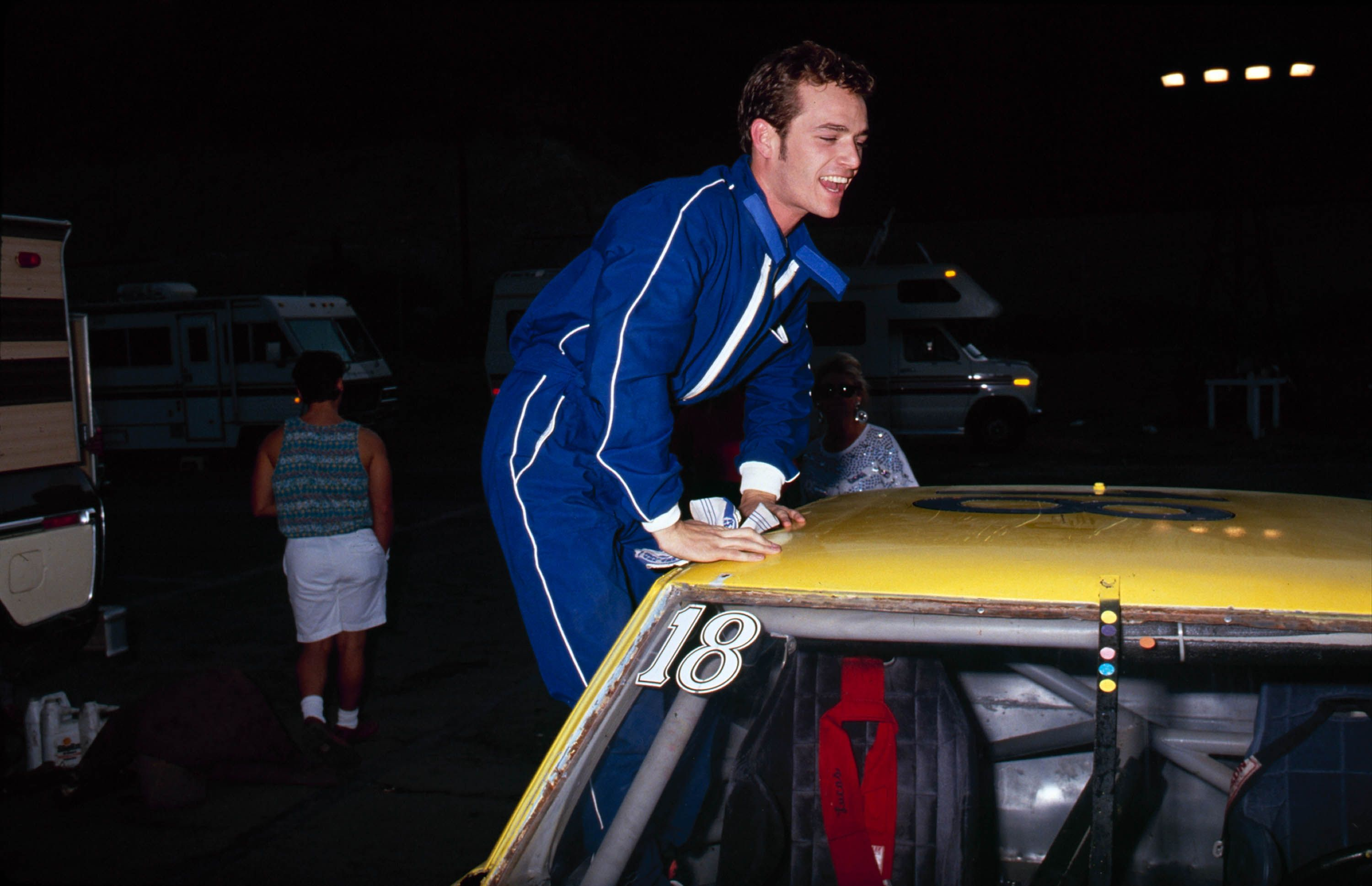 Perry at the 3rd Annual Reid Rondell Association Celebrity Enduro Race at Saugus Speedway in Saugus, CA, 1991.