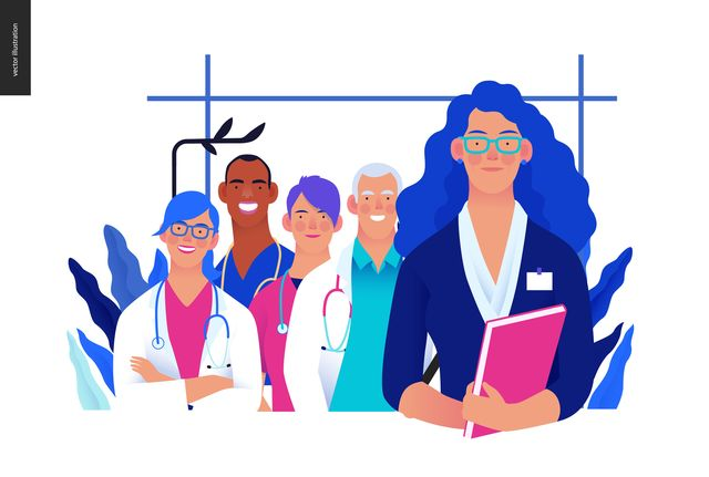 medical insurance illustration  hospital administrator  modern flat vector concept digital illustration   a female hospital administrator with a team of doctos concept, medical office or laboratory