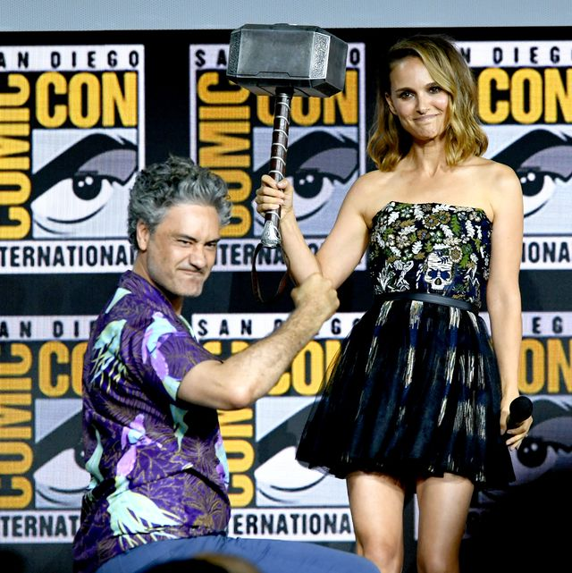 san diego, california   july 20 taika waititi and natalie portman speak at the marvel studios panel during 2019 comic con international at san diego convention center on july 20, 2019 in san diego, california photo by kevin wintergetty images