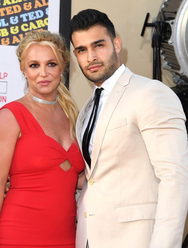 hollywood, california   july 22 britney spears and sam asghari arrives at the sony pictures once upon a timein hollywood los angeles premiere on july 22, 2019 in hollywood, california photo by steve granitzwireimage