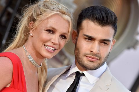 hollywood, california   july 22 britney spears and sam asghari attend sony pictures once upon a time  in hollywood los angeles premiere on july 22, 2019 in hollywood, california photo by axellebauer griffinfilmmagic