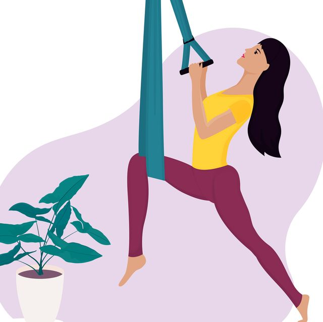 Young girl doing aerial yoga in a hammock. Landing page template.