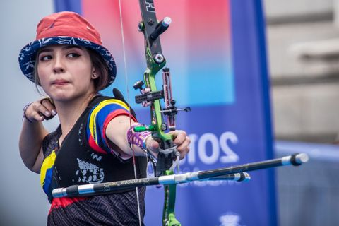 madrid, spain   august 25 in this handout image provided by the world archery federation, valentina acosta of colombia during the recurve junior women finals during the 2019 world archery youth championships on august 25, 2019 in madrid, spain photo by dean albergaworld archery federation via getty images