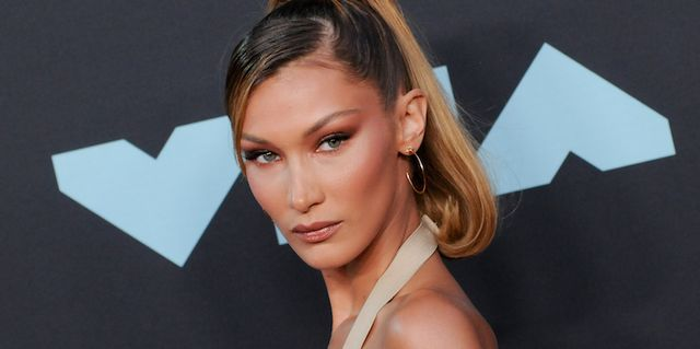 prudential center, newark, new jersey, united states   20190826 bella hadid isabella khair hadid attends the 2019 mtv video music video awards held at the prudential center in newark, nj photo by efren landaossopa imageslightrocket via getty images