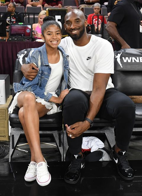 las vegas, nevada   july 27  gianna bryant and her father, former nba player kobe bryant, attend the wnba all star game 2019 at the mandalay bay events center on july 27, 2019 in las vegas, nevada note to user user expressly acknowledges and agrees that, by downloading and or using this photograph, user is consenting to the terms and conditions of the getty images license agreement  photo by ethan millergetty images