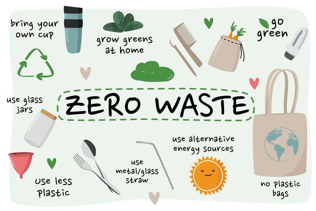 zero waste element collection ecological vector set with eco bag, glass jar etc