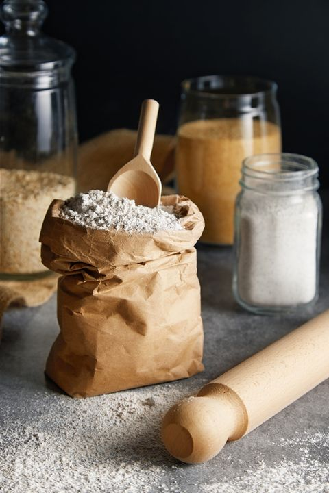 close up of flour and rolling pin