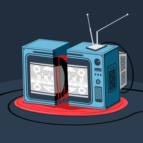 vector illustration the broken television horror style