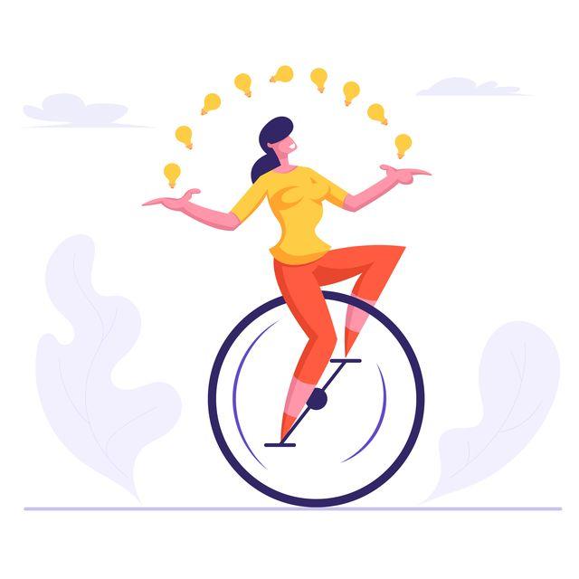 woman riding monowheel juggling with glowing light bulbs businesswoman character racing in cartoon flat vector illustration