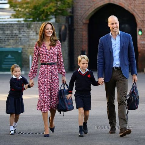 topshot   britains princess charlotte of cambridge, accompanied by her father, britains prince william, duke of cambridge, her mother, britains catherine, duchess of cambridge and brother, britains prince george of cambridge, arrives for her first day of school at thomass battersea in london on september 5, 2019 photo by aaron chown  pool  afp photo by aaron chownpoolafp via getty images