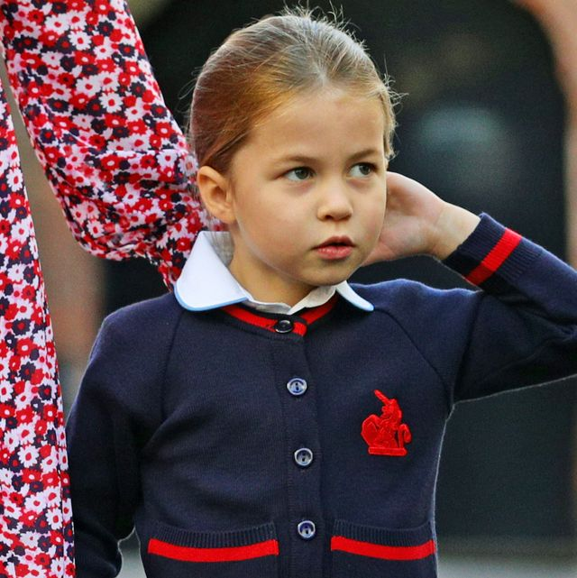 london, united kingdom   september 5 princess charlotte arrives for her first day of school at thomass battersea in london, with her brother prince george and her parents the duke and duchess of cambridge on september 5, 2019 in london, england photo by aaron chown   wpa poolgetty images