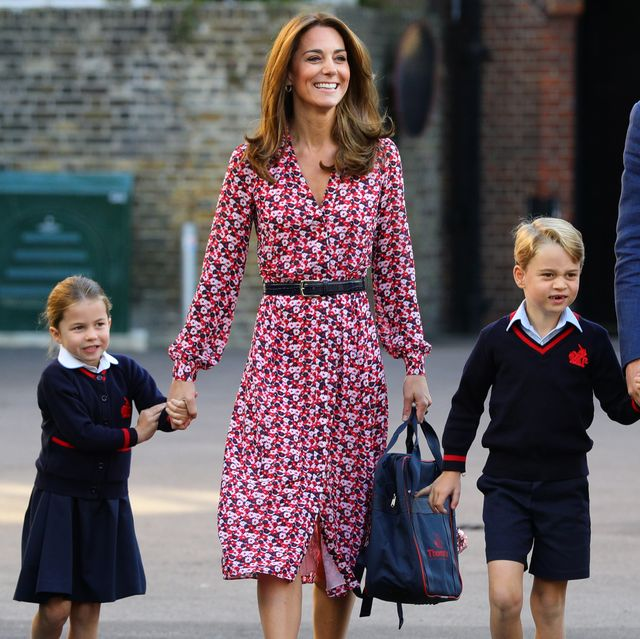 london, united kingdom   september 5 princess charlotte arrives for her first day of school, with her brother prince george and her parents the duke and duchess of cambridge, at thomass battersea in london on september 5, 2019 in london, england photo by aaron chown   wpa poolgetty images