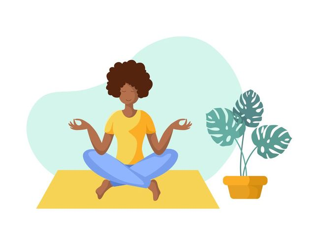young african american woman doing yoga on mat, girl is in lotus pose doing exercise and meditation female character in flat style isolated figure and potted flower, vector illustration