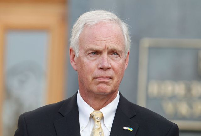 united states senator ron johnson republican of wisconsin speaks to journalists with joint a press conference with united states senator chris murphy democrat of connecticut not seen after their meeting with ukrainian president volodymyr zelensky, outside the presidential office in kiev, ukraine, on 5 september, 2019 photo by strnurphoto via getty images