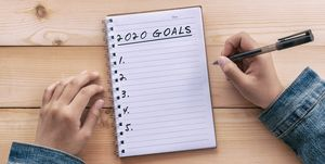 2020 Goals Text on Note Pad