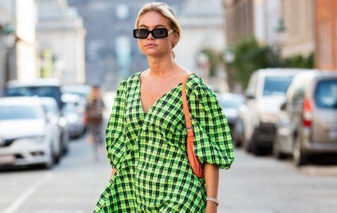 vestido cuadros vichy verde ganni top fruncido zara