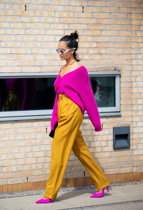 Clothing, Pink, Street fashion, Yellow, Shoulder, Fashion, Purple, Orange, Magenta, Trousers,