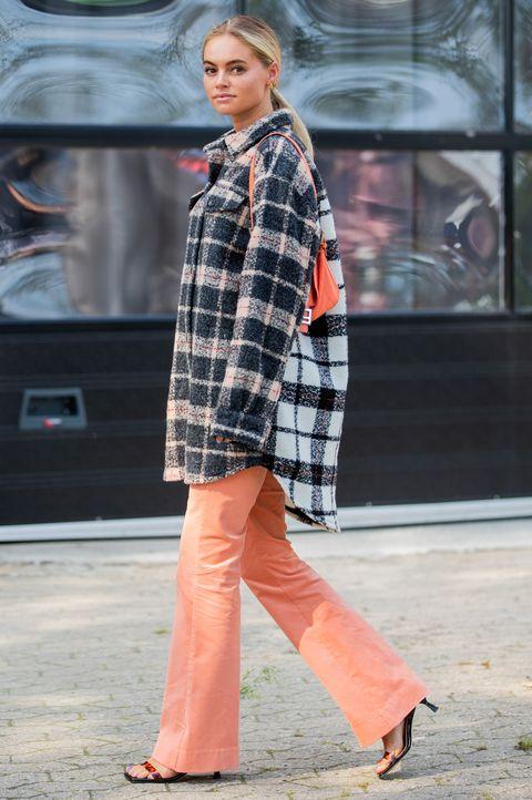 plaid, clothing, street fashion, tartan, photograph, pattern, fashion, orange, outerwear, pink,