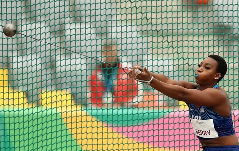 lima, peru   august 10 gwendolyn berry of united states competes in womens hammer throw final on day 15 of lima 2019 pan american games on august 10, 2019 in lima, peru photo by ezra shawgetty images
