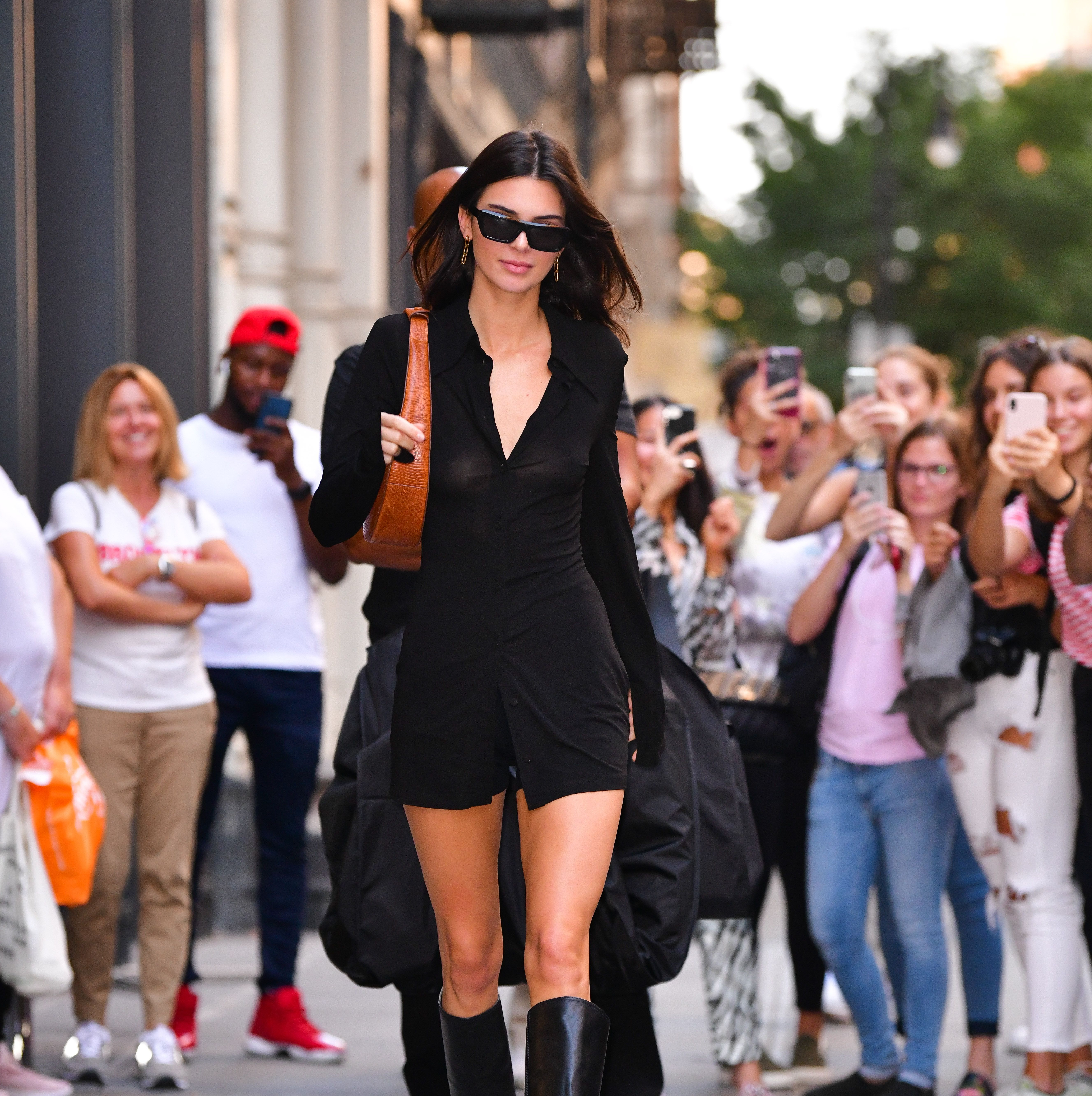 Kendall Jenner Wore a Tiny Shirt Dress and Knee-High Boots Out in NYC