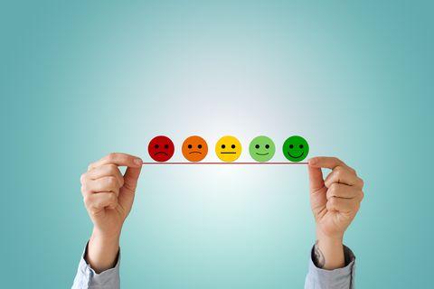 de symbolen waarmee klanten hun tevredenheid kunnen aangeven