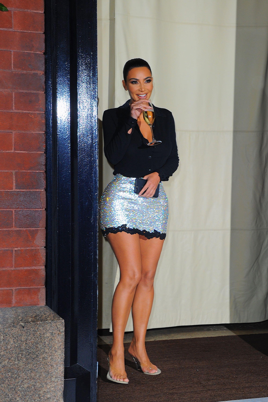 Kim Kardashian Channels Vintage Versace in Her Short Sparkly Miniskirt
