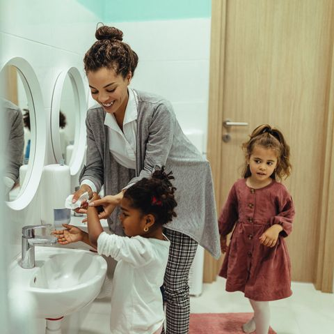 Hygiene time at kindergartner