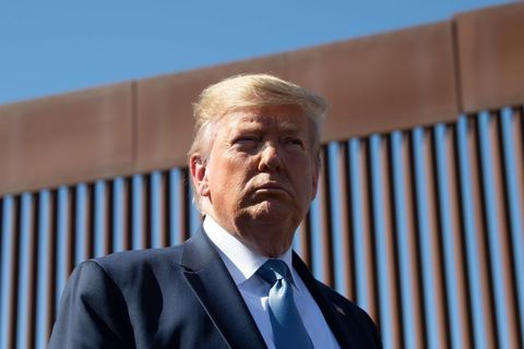topshot   us president donald trump visits the us mexico border fence in otay mesa, california on september 18, 2019 photo by nicholas kamm  afp        photo credit should read nicholas kammafp via getty images