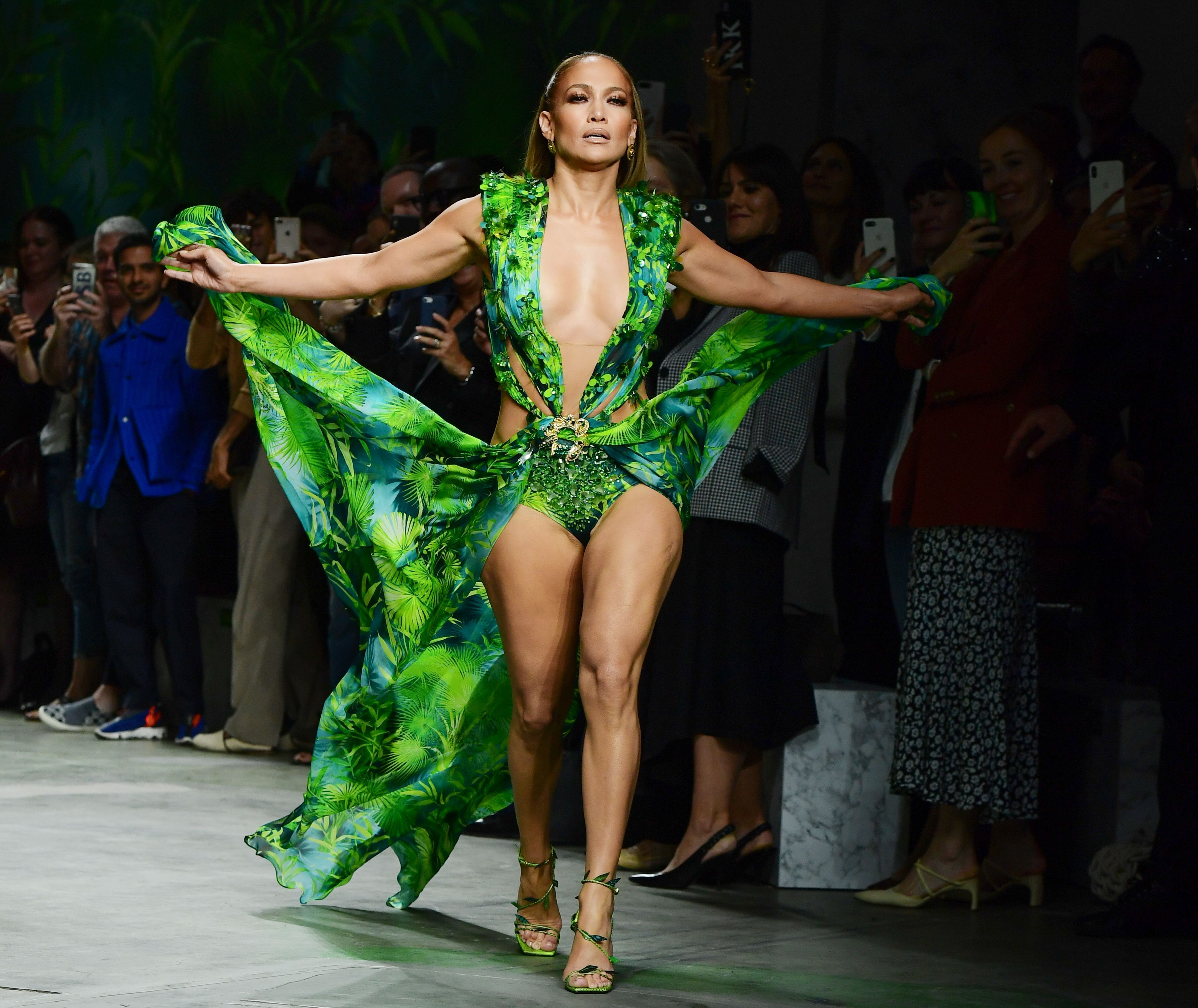 Jennifer Lopez Just Walked the Runway in Her Famous Green Palm Print Gown