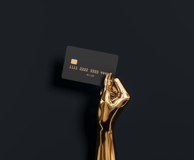 abstract gold hand sculpture holding credit card, the best banking offer for vip customers 3d illustration