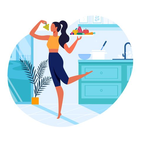 girl with healthy food flat vector illustration slim young woman in kitchen cartoon character vegetarian holding serving tray with fresh fruits and vegetables healthy lifestyle, vegan nutrition