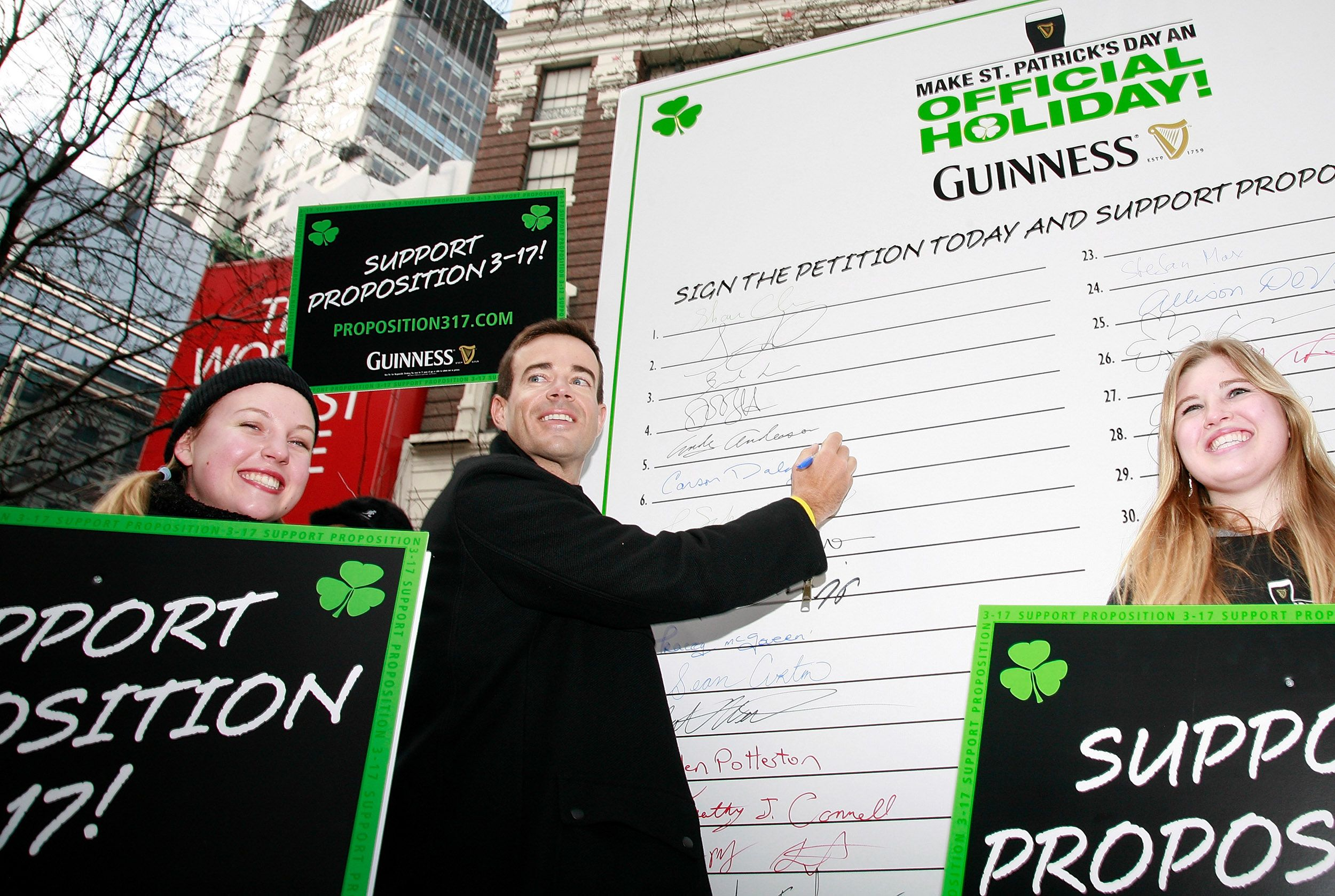 Carson Daly and supporters attend a rally to make St. Patrick's Day an official U.S. holiday at Herald Square on March 12, 2008 in New York City.