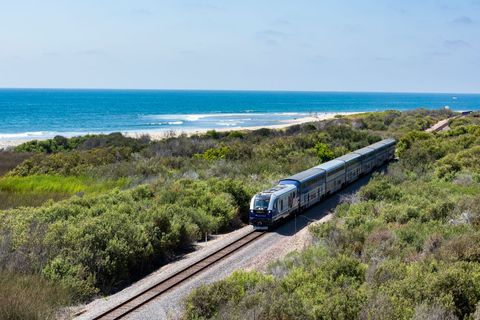 san clemente, ca   august 27 a pacific surfliner train passes through lower trestles in san clemente on tuesday, august 27, 2019 the future of the san onofre state beach is unknown because the long term lease agreement between the california department of parks and recreation and us marine corps ends in 2021 photo by leonard ortizmedianews grouporange county register via getty images