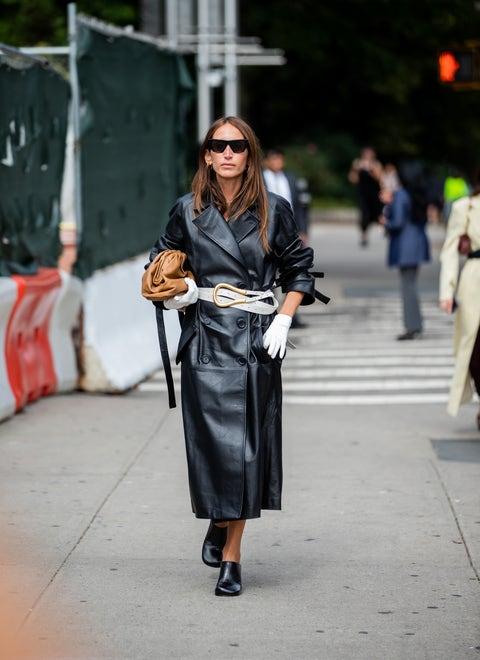 Clothing, Street fashion, Fashion, Snapshot, Leather, Coat, Trench coat, Outerwear, Jacket, Street,