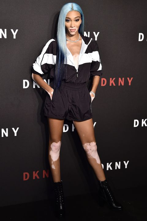 new york, new york   september 09 winnie harlow attends dkny 30th anniversary party at st anns warehouse on september 09, 2019 in new york city photo by steven ferdmangetty images