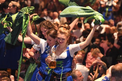 06 october 2019, bavaria, munich servants are standing on the tables in the hofbräu tent, swinging aprons and celebrating the end of hard work on the wiesn the oktoberfest ends today photo felix hörhagerdpa photo by felix hörhagerpicture alliance via getty images