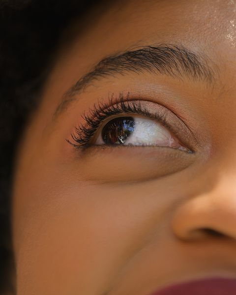 close up of young woman's eyes