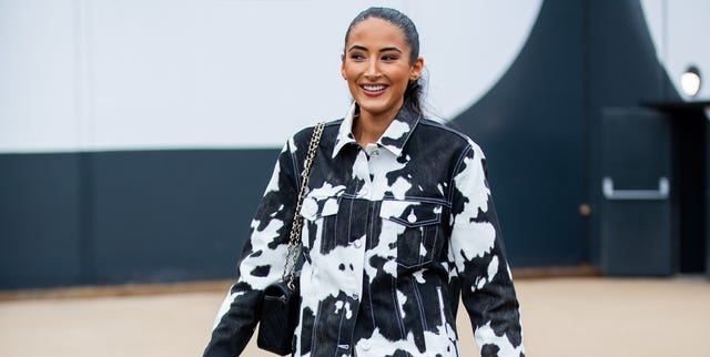 london, england   september 16 a guest is seen wearing jacket and pants with cow print outside burberry during london fashion week september 2019 on september 16, 2019 in london, england photo by christian vieriggetty images
