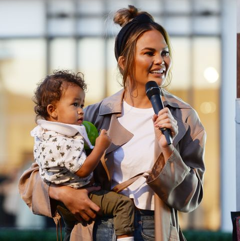 los angeles, california   september 19 chrissy teigen and miles stephens attend the impossible foods grocery los angeles launch with pepper thai teigen at gelsons westfield century city on september 19, 2019 in los angeles, california photo by amanda edwardswireimage