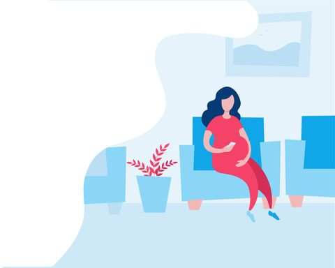a pregnant woman sitting in a chair in the clinic and waiting in line vector illustration in flat style horizontal banner template