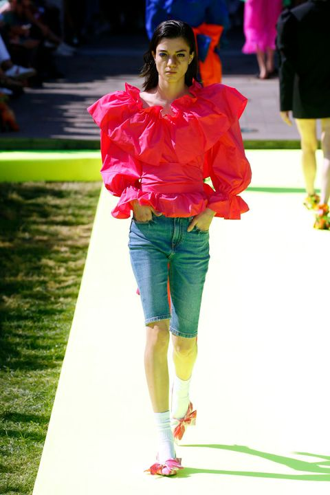 Fashion, Green, Red, Fashion show, Runway, Yellow, Pink, Footwear, Street fashion, Fashion design,