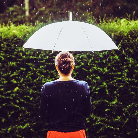 People in nature, Umbrella, Green, Grass, Red, Light, Water, Leaf, Sunlight, Rain,