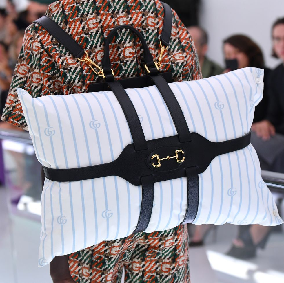 Gucci SS20 Sent Monogrammed Pillow Backpacks Down The Runway