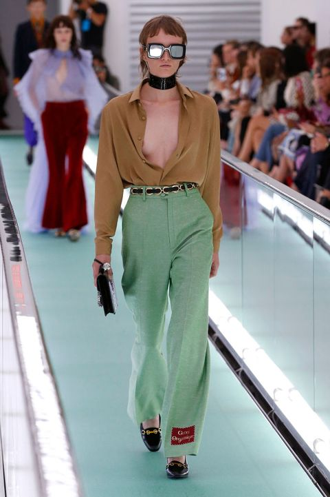 Fashion model, Fashion, Fashion show, Runway, Clothing, Waist, Haute couture, Fashion design, Trousers, Eyewear,