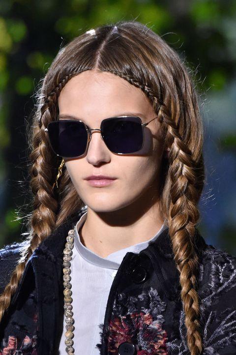 Eyewear, Hair, Hairstyle, Sunglasses, Cool, Long hair, Lip, Fashion, Braid, Glasses,